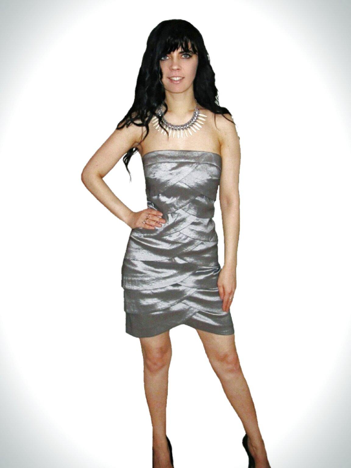 silver mini dress usato