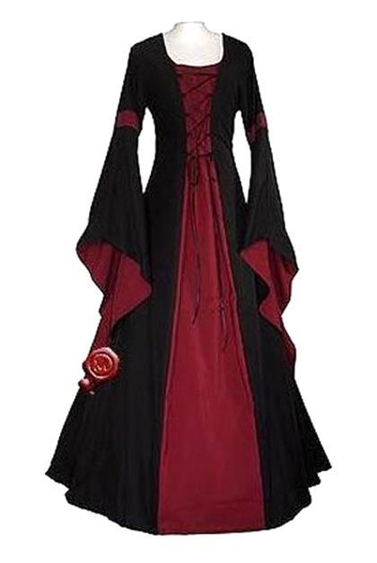 LaoZanA Donna Elegant Manica Lunga Abito Vestito Vittoriano Halloween Medioevo Costume