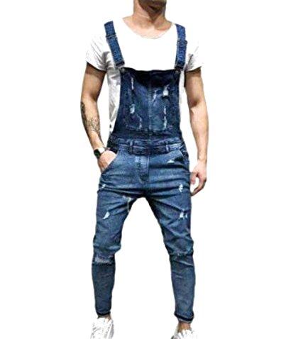 Jeans Strappati Kewing Tuta da Uomo Salopette di Jeans Salopette di Jeans Salopette Vintage