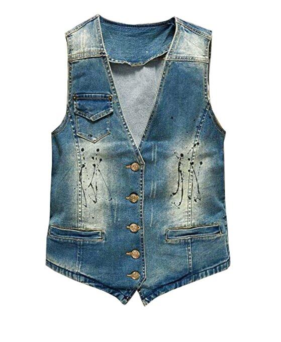Evoga Giubbotto Smanicato di Jeans Uomo Blu Denim Cardigan Gilet Giacca Casual