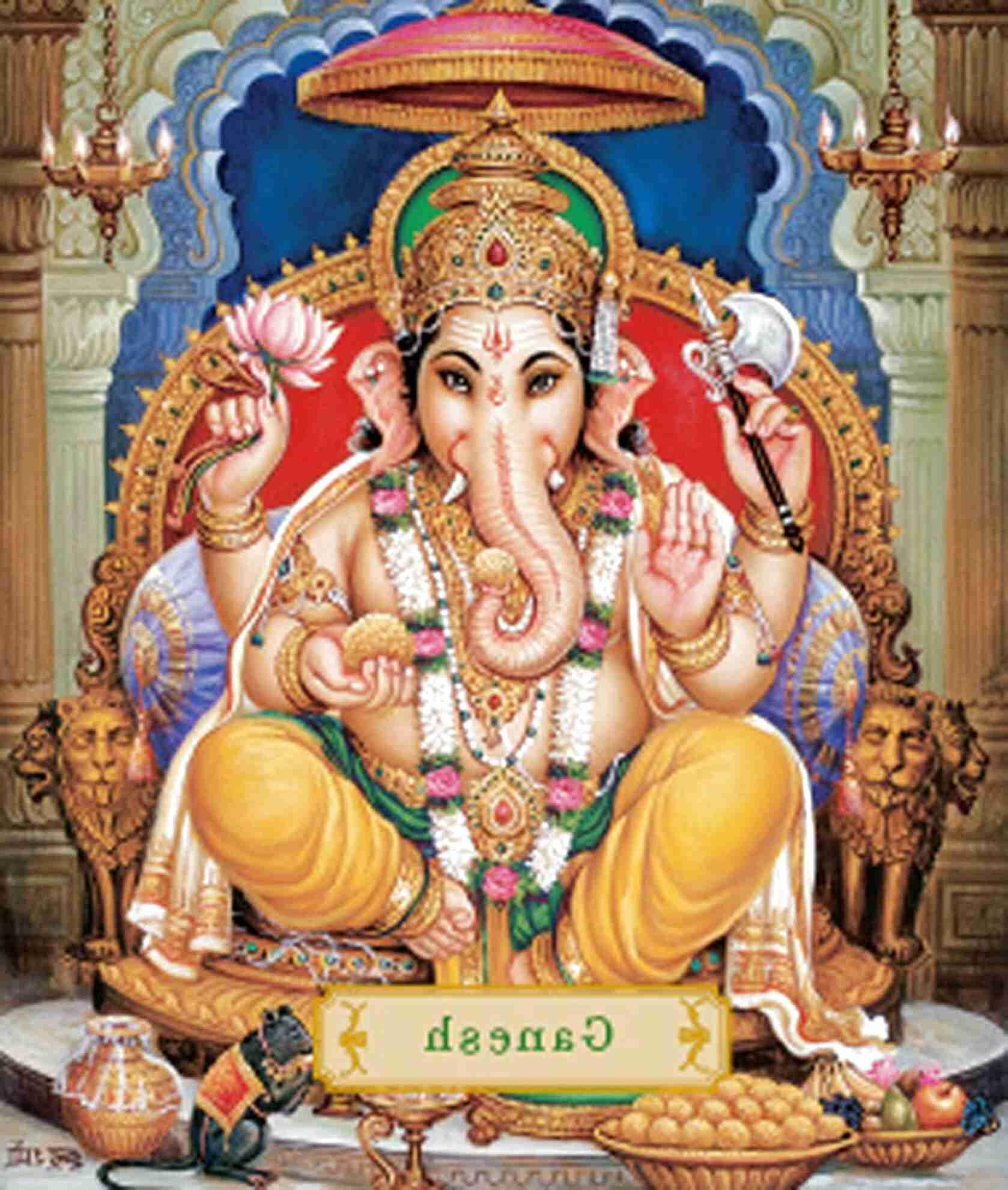 Purckator GAN07 Statuina del Dio Ganesh 16 cm Oro e Rosso