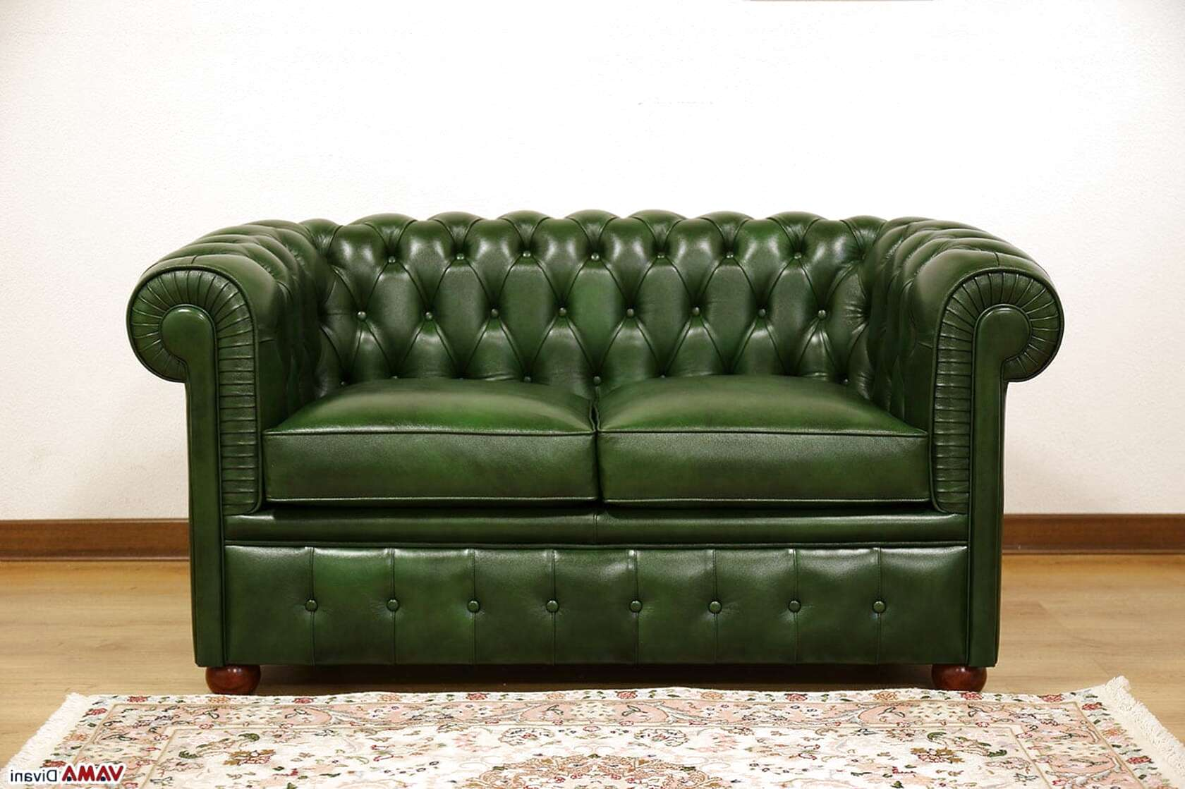 vidaXL Divano Chesterfield 2 Posti Classico in Similpelle Nero Salotto Sofa