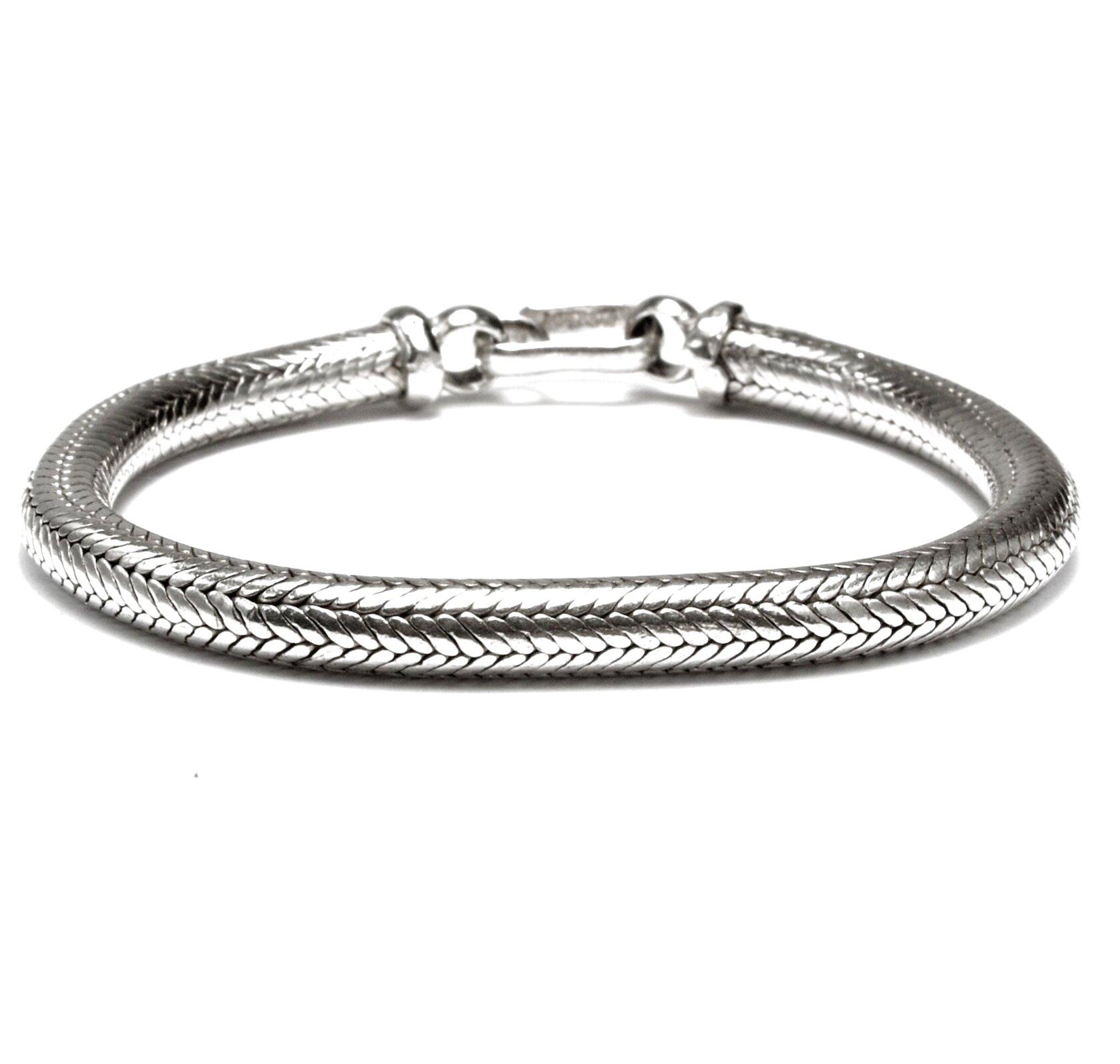 bagno argento indiano bracciale 100 gr snake  bracelet d 1x 24 CM  indian silver