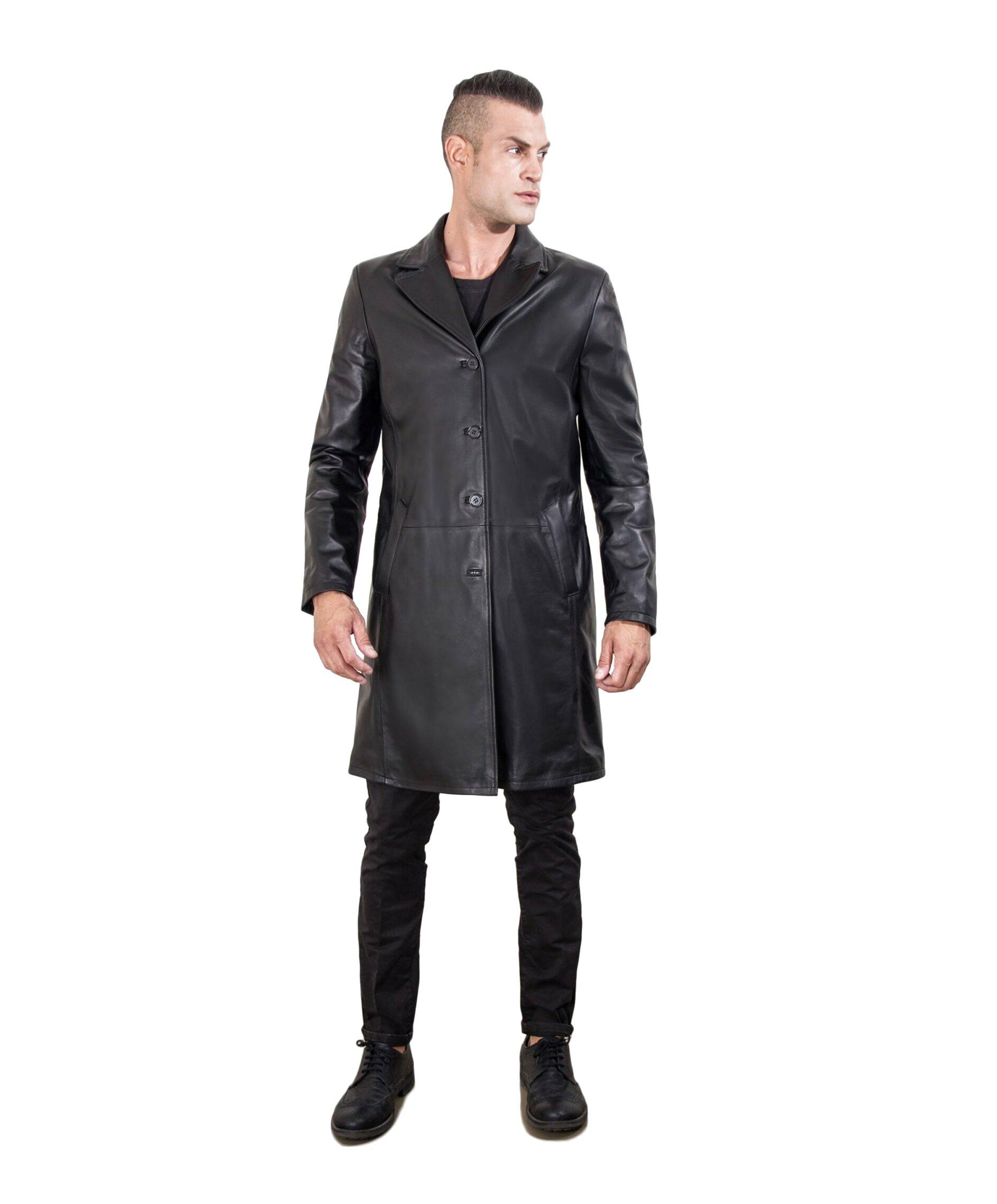 giacca pelle uomo lunga usato