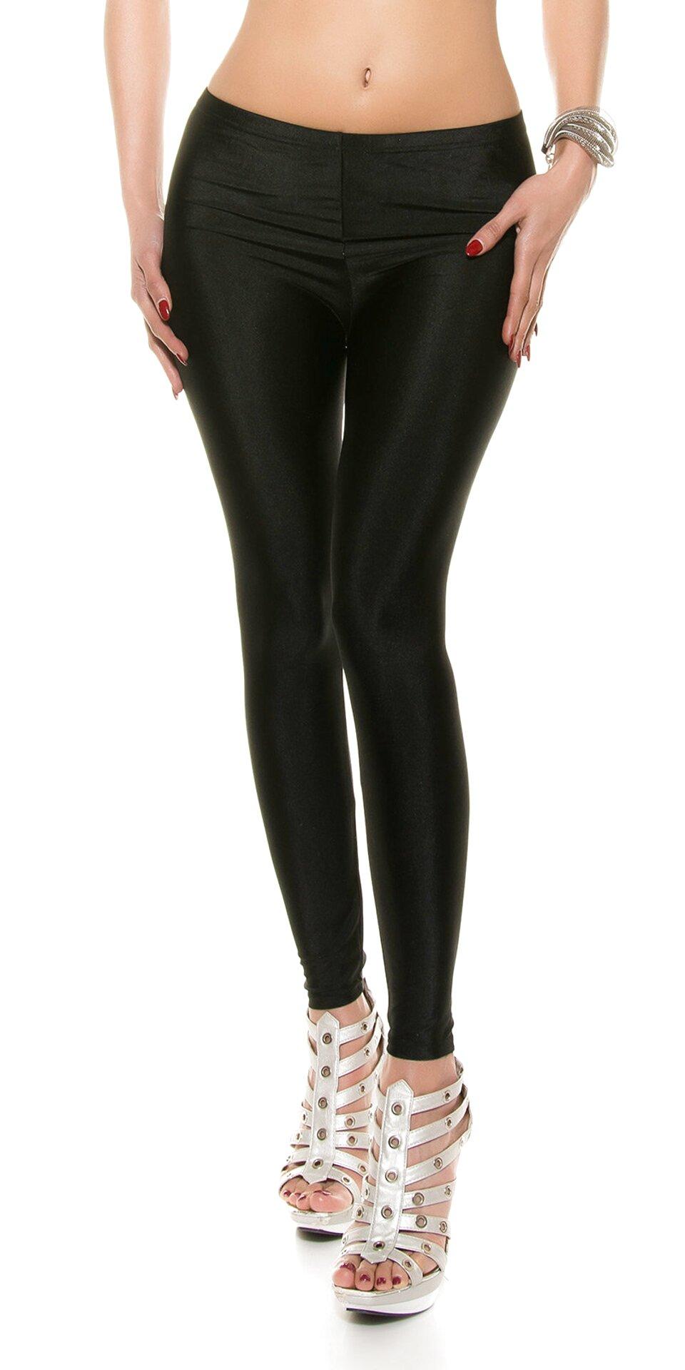 Donna da Ragazza Effetto Cuoio Nero Inserto Leggings Zip Pantaloni Elasticizzati