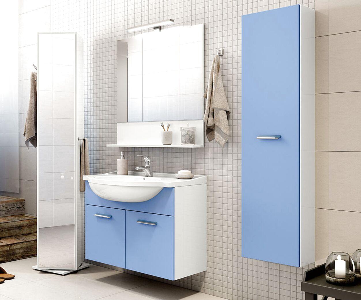 Nuovo mobile bagno provenzale azzurro decapè cm 11