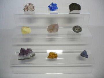 SAFE Espositore a scaletta in vetro acrilico a 2 gradini per minerali cristalli
