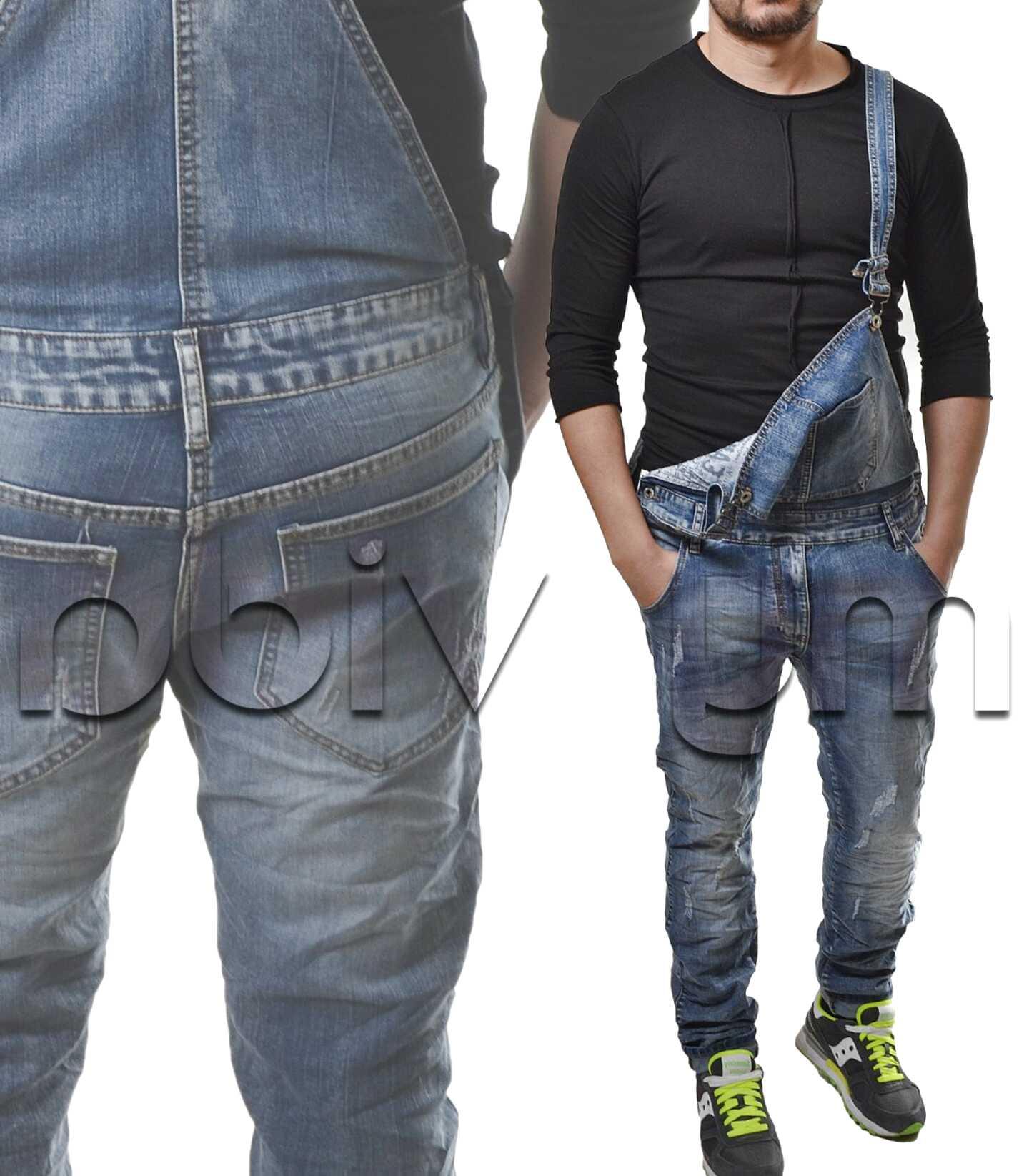Yying Salopette da Uomo Jeans Pantaloncini Strappati Buco Denim Pantaloni Corti Jumpsuit Estate Tuta con Cinturino Overalls Casual Pagliaccetto