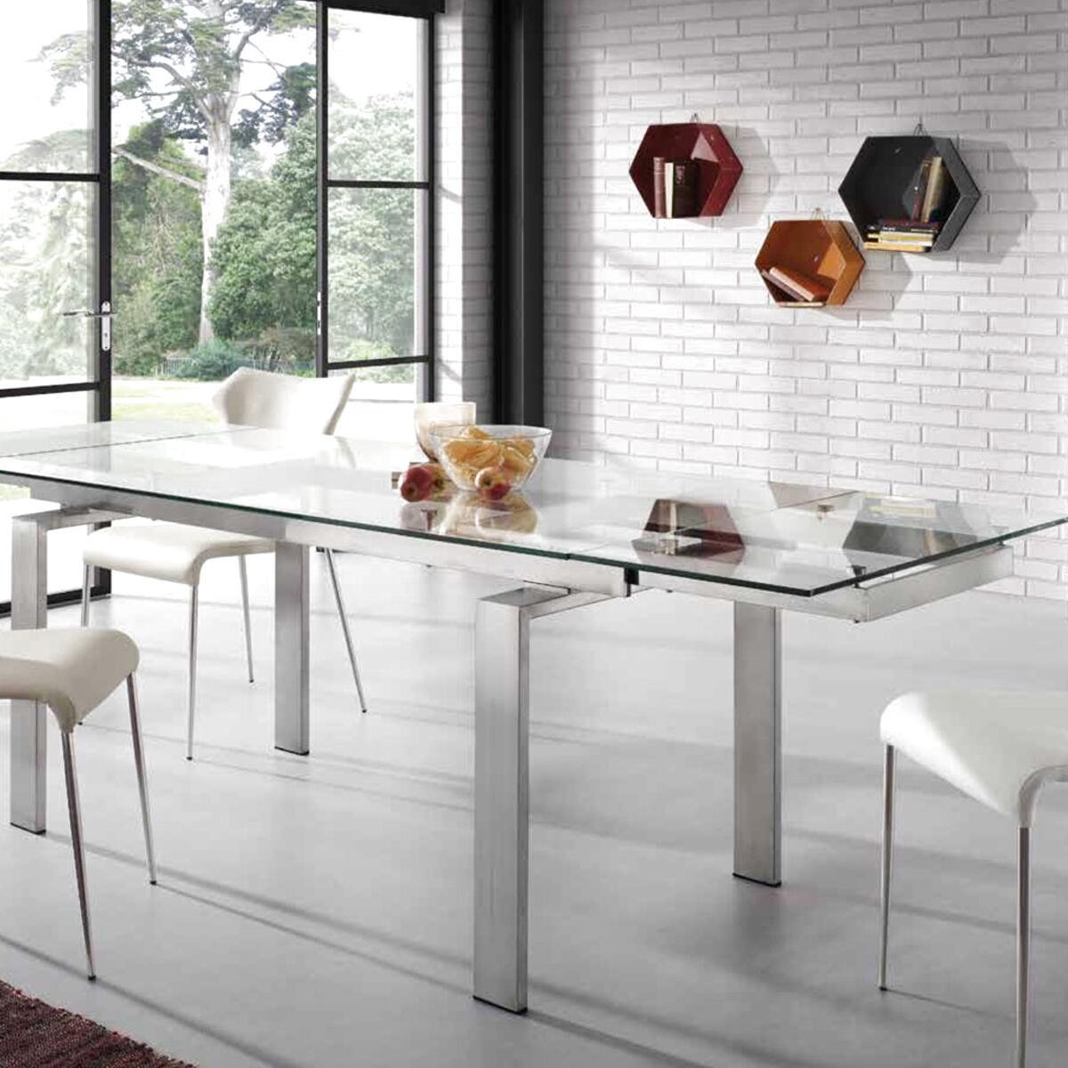 tavoli in acciaio e vetro