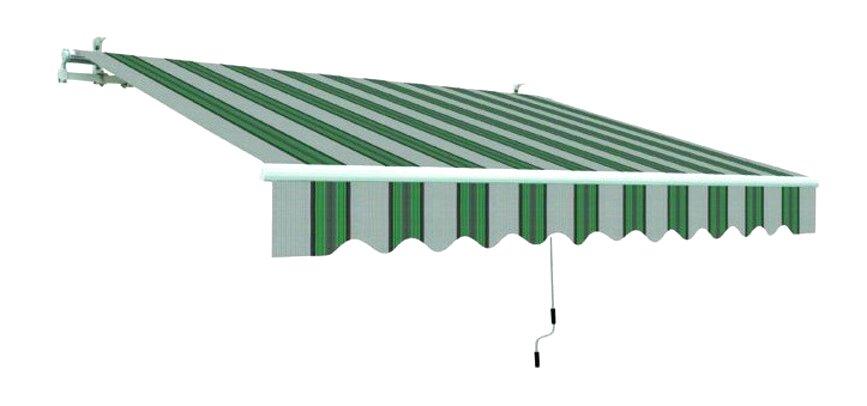 ranieri Tenda da Sole a Caduta con Bracci 250x300 cm Tessuto in Poliestere Riga Verde